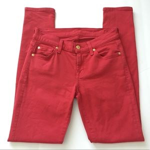 [7 FOR ALL MANKIND] RED SKINNY JEANS SIZE 25
